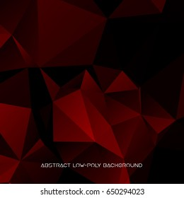 Vector abstract polygonal red and black background