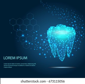 Vector abstract polygonal tooth silhouette. Business wireframe. Thin line concept of stomatology dental concept. Blue structure style illustration consisting of point, mesh and lines.