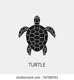 Vector.  Abstract polygonal turtle. Geometric black symbol tortoise.