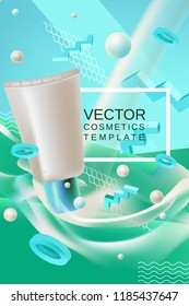 Vector abstract poster or banner cosmetics template in blue and green colors