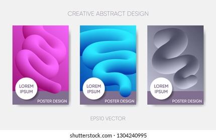 Vector abstract poster design gradient fluid liquid shapes