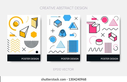 Vector abstract poster design simple geometric memphis shapes