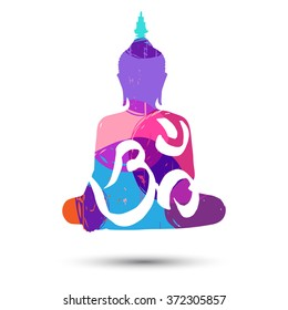 """Vector abstract poster with """"Om"""" symbol and sitting Buddha isolated on white background"""