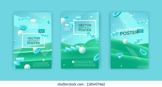 Vector abstract posters set in blue and green colors