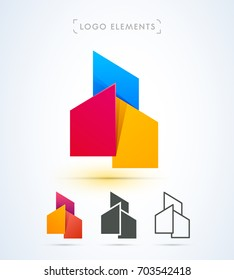 Vector abstract real estate logo template. Material design style