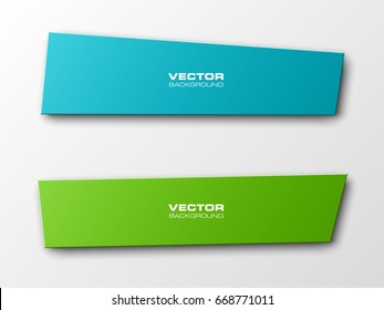 Vector abstract ribbon banner. The two original rectangular band banners form background. The flat band image. Advertising Design banner ribbon shape. Vector label ribbons tag.