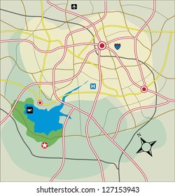 Vector abstract road map