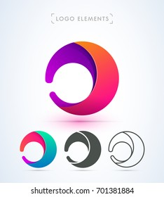 Vector abstract rounded logo. Letter J, D,C material design set.
