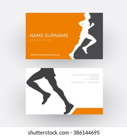 Vector abstract runner and personal trainer. Business card