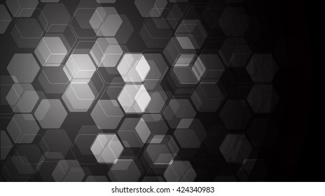 Vector Abstract science Background. black Hexagon geometric design. EPS 10. science innovation concept abstract background