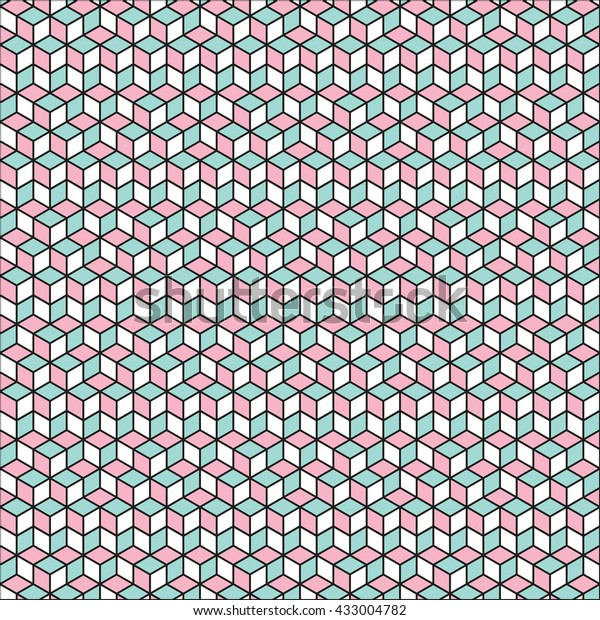 Vector Abstract Seamless 3d Pattern. Isometric background.