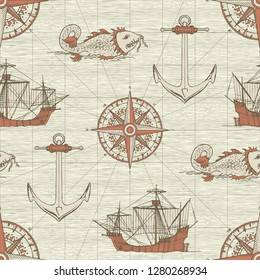 Vector abstract seamless background on the theme of travel, adventure and discovery. Old caravels, vintage sailing yachts, wind roses, anchors and giant catfishes in retro style