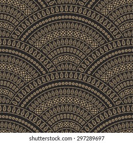 Vector abstract seamless geometrical background from dark beige and black fan shaped ornate elements with ethnic patterns