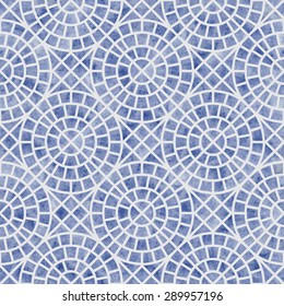 Vector abstract seamless geometrical pattern with blue watercolor texture on a light grey background