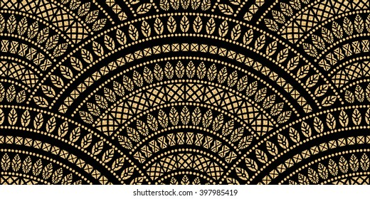 Vector abstract seamless geometrical wavy background from golden and black fan shaped ornate feathers and banners with ethnic patterns. Fish scale order. Oriental textile print. Art deco wallpaper