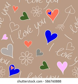 Vector abstract seamless heart pattern in gray and orange colors. Doodle hearts, chamomile flower, I love you text and letters. Vector illustration.