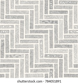 Vector abstract seamless monochrome doodle herringbone pattern. Hand drawn grey bricks with ornament, wavy stripes on a beige background. Textile patchwork American Indian, Aztec style print