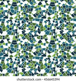 Vector abstract seamless olive mosaic pattern. Green, blue and white background. For design and decorate backdrop. Endless texture. Ceramic broken tile fragments.