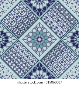 Vector abstract seamless patchwork background from blue and light turquoise geometrical Moroccan traditional arabesque patterns, triangles with ornaments, stylized flowers and lacy hexagonal stars