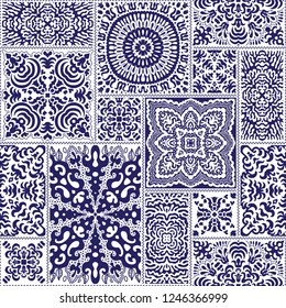 Vector abstract seamless patchwork pattern from dark blue andwhite ethnic ornaments. Wallpaper background. Mandala round ornament, batik, fantasy tracery, textile print design, wrapping paper, cover