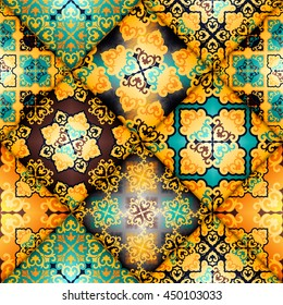 Vector abstract seamless patchwork pattern. Arabic tile texture with geometric and floral ornaments. Decorative elements for textile, book covers, print, gift wrap. Vintage boho style.