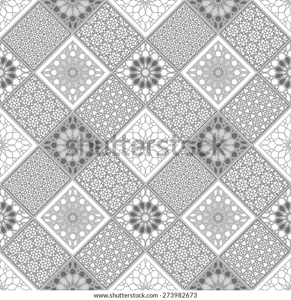 Vector abstract seamless patchy pattern from dark grey and white geometric Oriental ornaments, stylized stars and radial rosette on light gray background