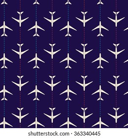 Vector abstract seamless pattern with airplanes