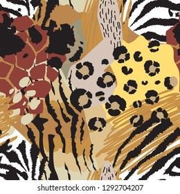 Vector abstract seamless pattern with animal skin motifs. Endless modern background.