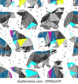 Vector abstract seamless pattern with bears