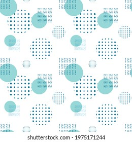 Vector abstract seamless pattern. Blue isolated stylish modern geometric shapes on white background. Circles, dots and specks to decorate the background or wrapping paper.