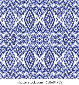 Vector abstract seamless pattern with dark blue stripes on a white background. Exotic batik, fantasy ikat ornament, textile print design, wallpaper, wrapping paper, album cover, tie dye decoration