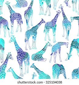 Vector abstract seamless pattern with giraffes