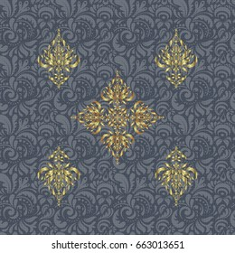 Vector abstract seamless pattern with golden geometrical elements. Fan shaped Christmas gold. Golden stylized stars on a gray background.