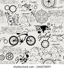 Vector abstract seamless pattern on the theme of bicycles, adventure and travel. Old manuscript with spare parts, wind rose and other symbols with blots and stains in vintage style.