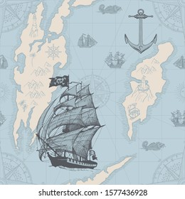Vector abstract seamless pattern on the theme of travel, adventure, discovery. Old map background with islands, pirate caravels, frigates, vintage sailing yachts, wind roses and anchors in retro style
