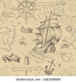 Vector abstract seamless pattern on the theme of travel, adventure and discovery. Vintage repeating background with hand-drawn sailboats, map, wind rose, anchors, sea monsters and inscriptions.