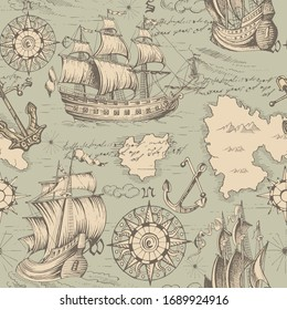 Vector abstract seamless pattern on the theme of travel, adventure and discovery and pirates. Vintage repeating background with hand-drawn ships, anchors, wind rose and islands.