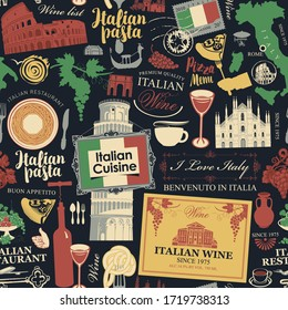 Vector abstract seamless pattern on the theme of Italy and Italian cuisine in retro style on the black background. Suitable for wallpaper, wrapping paper, fabric.