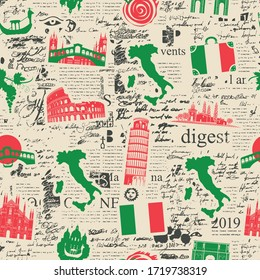 Vector abstract seamless pattern on the theme of Italy with Italian symbols, architectural landmarks and a map in the colors of the Italian flag on the background of newspaper page in retro style.
