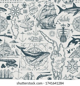Vector abstract seamless pattern on the theme of travel, adventure and discovery. Vintage repeating background with hand-drawn sketches of sailboats, old maps, wind rose, anchors, fishes, cannons