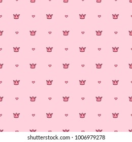 vector abstract seamless pattern. Simple Little Princess concept for girl. Fill drawing illustration. Cute childish fabric background. Print art graphic backdrop texture. Wrapping design for kids 092