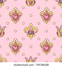 vector abstract seamless pattern. Simple Little Princess concept for girl. Fill drawing illustration. Cute childish fabric background. Print art graphic backdrop texture. Wrapping design for kids 002