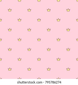 vector abstract seamless pattern. Simple Little Princess concept for girl. Fill drawing illustration. Cute childish fabric background. Print art graphic backdrop texture. Wrapping design for kids 015