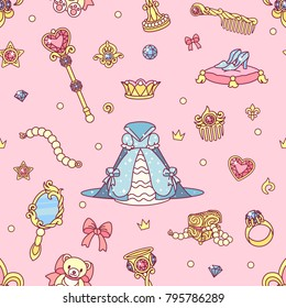 vector abstract seamless pattern. Simple Little Princess concept for girl. Fill drawing illustration. Cute childish fabric background. Print art graphic backdrop texture. Wrapping design for kids 014