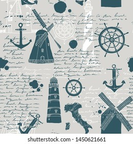 Vector abstract seamless pattern,  theme of travel and adventure, old manuscript, text, lighthouses, wind mills, ship wheels, anchors and other nautical symbols, vintage background