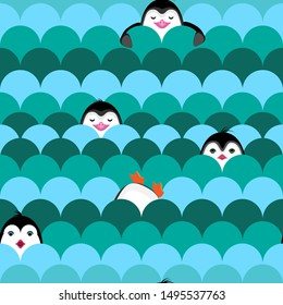 Vector abstract seamless penguin in wave pattern. Cartoon penguin swimming in antarctic waves. Childish bird in wave.