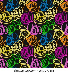 Vector abstract seamless scribble background. Fantasy modern colorful tangled pattern. Vibrant art chaos backdrop. Digital tortuous design. Creative tangled composition.