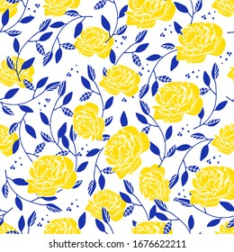 Vector abstract seamless simple floral pattern. Flower pattern. Spring pattern. Pattern for textiles or for cover. Wallpaper. Hand drawn.