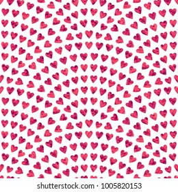 Vector abstract seamless wavy pattern with geometrical fish scale layout. Red mosaic stylized hearts on a white background. Fan shaped Valentine Day ornament. Holiday wrapping paper