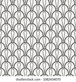 Vector abstract seamless wavy pattern with dotted geometrical fish scale layout with flowers. Textile print, page fill, batik, texture